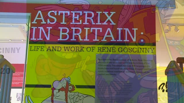 exhibition celebrating work of 'asterix' creator rene goscinny; england: london: camden: the jewish museum: int close shot of 'asterix the gaul'... - literature stock-videos und b-roll-filmmaterial