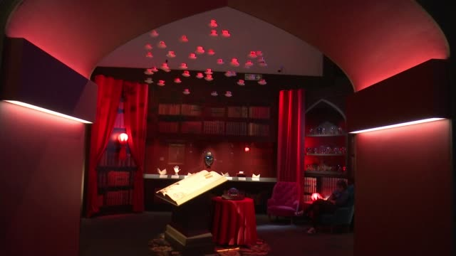 'harry potter - a history of magic' exhibition at british library; the british library: int various of exhibits on display at 'harry potter: a... - literature stock videos & royalty-free footage