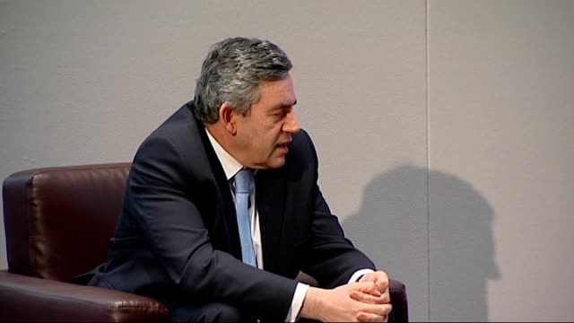 gordon brown attends london book fair for discussion with sebastian faulks; england: london: earls court: int gordon brown mp along to take seat on... - kingsley amis stock videos & royalty-free footage