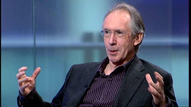 ian mcewan interviewed on his new book 'solar' mcewan studio interview sot would be surprised if scientists felt that novel harmed their agument /... - potsdam conference stock videos and b-roll footage