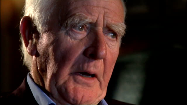 john le carre interview; cornwell interview sot - on his sense of pastoral responsibility to prisoners and the immense sense of loyalty towards the... - デビッド コーンウェル点の映像素材/bロール