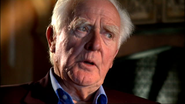 john le carre interview; int cornwell interview sot - on how it was definitely a calling in those days and how patriotic they were. - デビッド コーンウェル点の映像素材/bロール