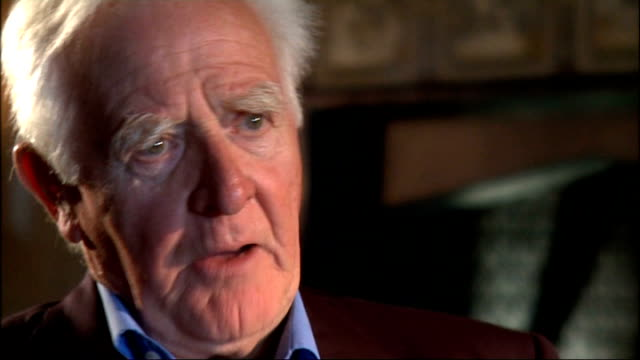 john le carre interview int cornwell interview sot on speaking the truth to power on there being a dirty side to espionage too - literature stock videos and b-roll footage