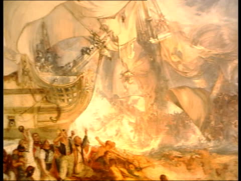literature: letters found/ exhibition preview; glass looking at painting of battle of trafalgar details of painting detail of portrait of lord nelson... - literature stock videos & royalty-free footage