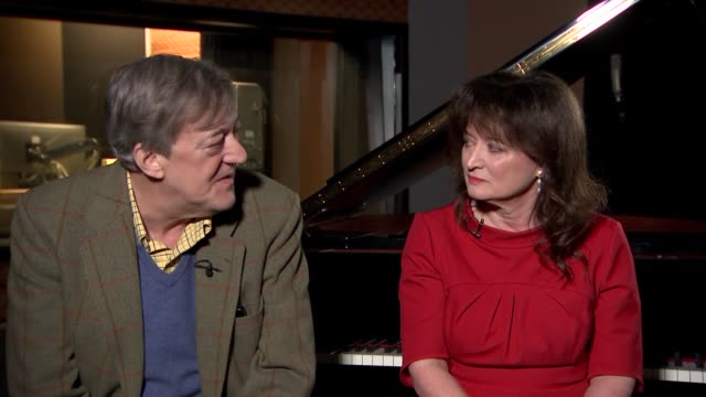 'the mythos suite' stephen fry and debbie wiseman interview england london int stephen fry and debbie wiseman interview continued sot re greek myths... - stephen fry stock videos & royalty-free footage