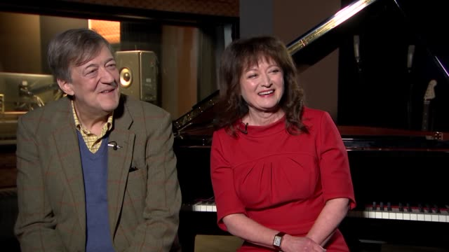 'the mythos suite': stephen fry and debbie wiseman interview; england: london: int stephen fry and debbie wiseman interview sot - re greek myths and... - スティーブン フライ点の映像素材/bロール