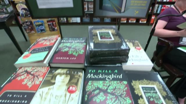 new harper lee novel 'go set a watchman' due out tomorrow usa new york barnes noble entrance to barnes noble bookshop tilt close shot of copies of... - barnes & noble stock videos and b-roll footage