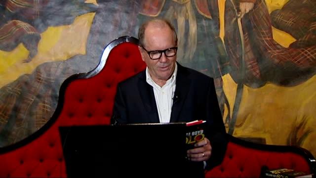 vídeos y material grabado en eventos de stock de new james bond novel launch; england: london: dorchester hotel: int william boyd reading extract from his new james bond book 'solo' at press... - william boyd