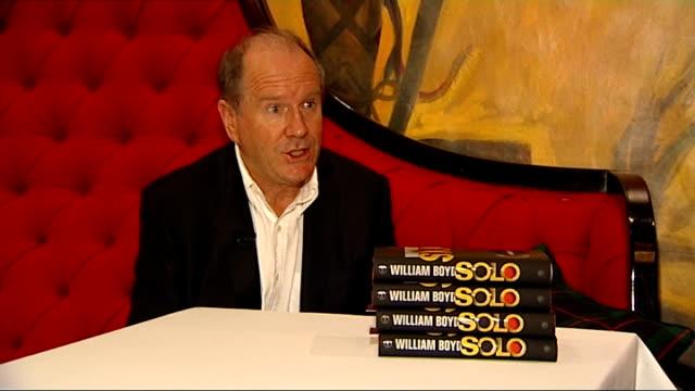 vídeos y material grabado en eventos de stock de new james bond novel launch: press conference and interviews; william boyd interview sot - william boyd