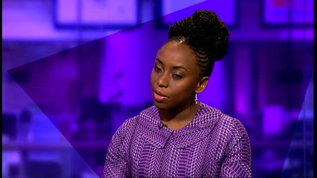 nigerian writer chimamanda ngozi adichie interview; england: london: gir: int chimamanda ngozi adichie interview sot - literature stock videos & royalty-free footage