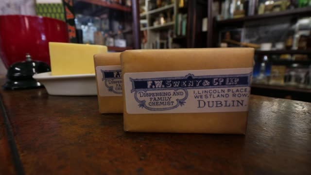 profile of james joyce museums in dublin as voting begins in the irish general election ireland dublin int old soap bar man playing guitar and... - james joyce stock-videos und b-roll-filmmaterial