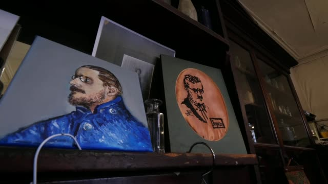 profile of james joyce museums in dublin as voting begins in the irish general election ireland dublin int old bottles on shelf portraits of james... - james joyce stock-videos und b-roll-filmmaterial