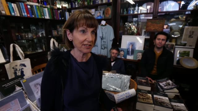 profile of james joyce museums in dublin as voting begins in the irish general election ireland dublin int nastaise leddy set up shot / interview sot... - james joyce stock-videos und b-roll-filmmaterial