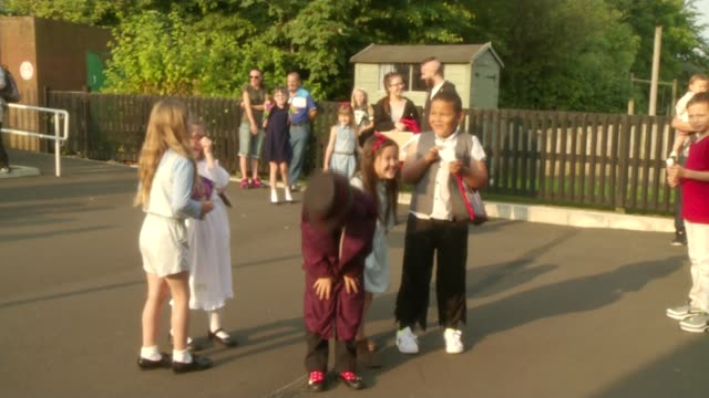 roald dahl centenary celebrations england ext children dressed as characters from roald dahl books in school playground/ vox pops - literature stock videos and b-roll footage