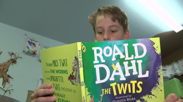roald dahl centenary celebrations steve gardam interview sot/ boy luke ellison reading from roald dahl's 'the twits' and interview sot - dahl stock videos and b-roll footage