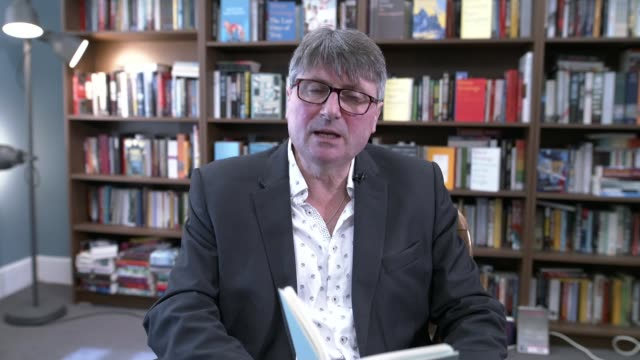 vídeos de stock e filmes b-roll de simon armitage announced as new poet laureate england int simon armitage reading his poem 'the clown punk' to camera sot - poesia literatura