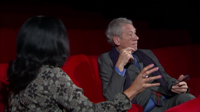 sir ian mckellan inteview mckellen interview sot on updating of shakespeare to address modern day issues like refugee crisis - ian mckellen stock videos and b-roll footage