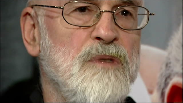 sir terry pratchett dies aged 66; 13.3.2008 / t13030816 terry pratchett interview sot - saying with cancer there is sequence you go through, whereas... - literature stock videos & royalty-free footage