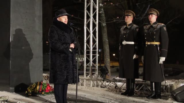 lithuania unveils a new monument to commemorate the events of january 1991 when soviet union forces launched a crackdown following the baltic states... - lithuania stock videos and b-roll footage