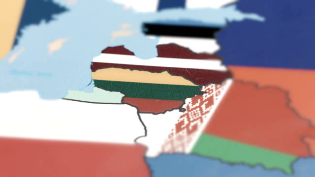 lithuania with national flag on world map - lithuania stock videos & royalty-free footage