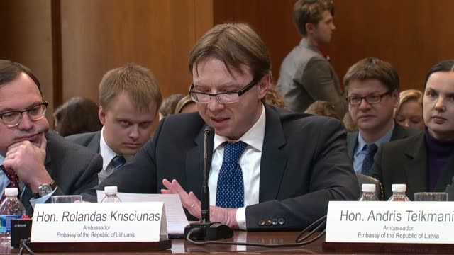 lithuanian ambassador to the united states rolandas krisciunas reads his prepared statement to a subcommittee of the senate appropriations committee... - military attack stock videos and b-roll footage