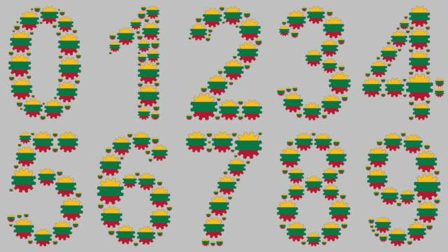 litauiska nummer set - mindre än 10 sekunder bildbanksvideor och videomaterial från bakom kulisserna
