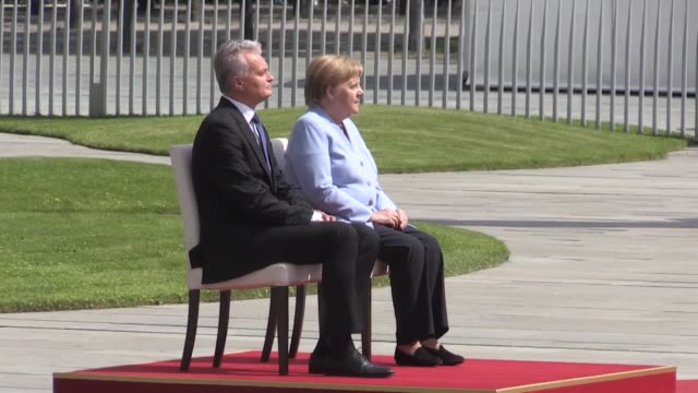 lithuanian president gitanas nauseda is welcomed by german chancellor angela merkel with an official ceremony at the chancellery on august 14 2019 in... - angela merkel stock videos & royalty-free footage