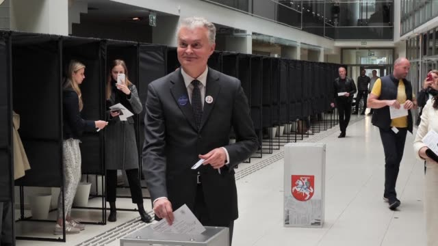 lithuanians who can not make it to the polls this sunday cast their vote early in the first round of the presidential election - lithuania stock videos & royalty-free footage