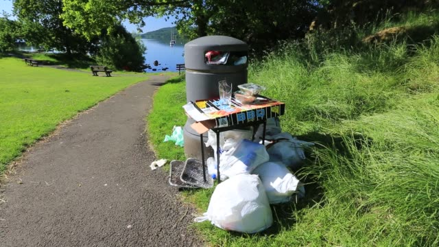 litter left in an ambleside park by visitors after a sunny weekend, lake district, uk. - bin stock videos & royalty-free footage
