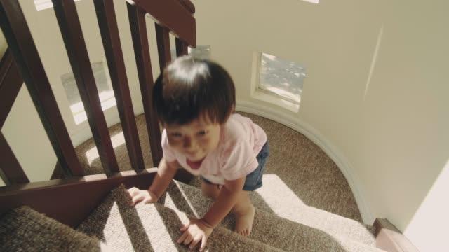 kleines baby (24 monate) junge klettern die stufen hinauf - stufen stock-videos und b-roll-filmmaterial