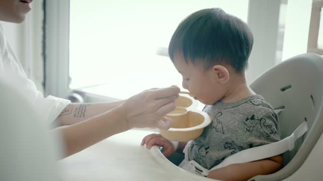 vídeos de stock e filmes b-roll de a little baby (6-11months) boy eating - 6 11 meses