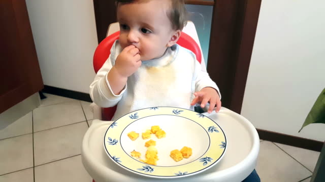 little baby eating using hands - pjphoto69 stock videos & royalty-free footage