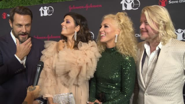 interview little big town members jimi westbrook karen fairchild kimberly schlapman philip sweet talk about why being here means a lot to them on the... - save the children stock videos & royalty-free footage