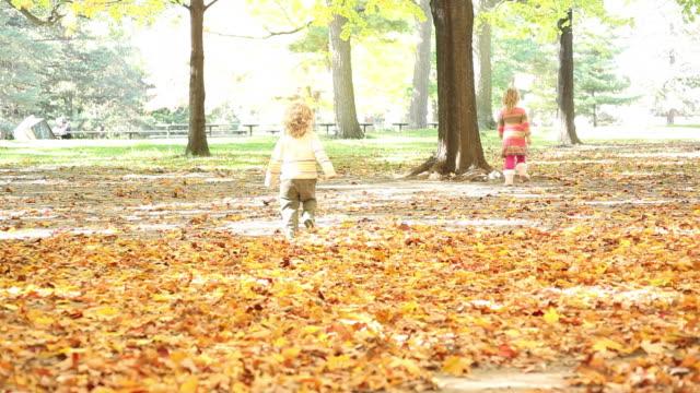 ws little boy and little girl running away hiding behind tree / toronto, ontario, canada - kelly mason videos stock videos & royalty-free footage