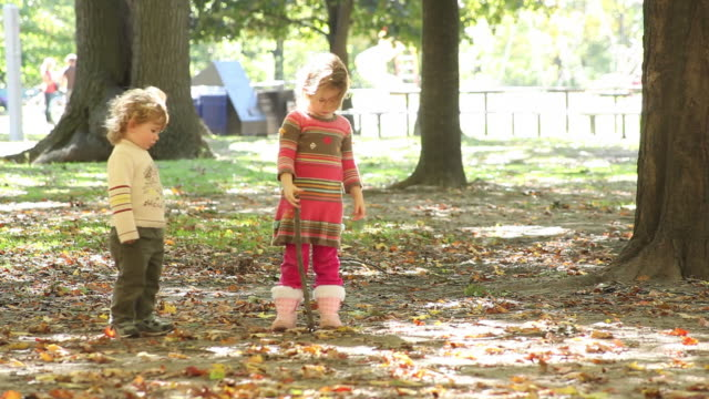 ms little boy and little girl stand in park while girl holds onto stick / toronto, ontario, canada - kelly mason videos stock videos & royalty-free footage