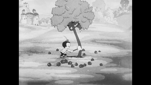 little boy axes apple tree - animation moving image stock videos & royalty-free footage