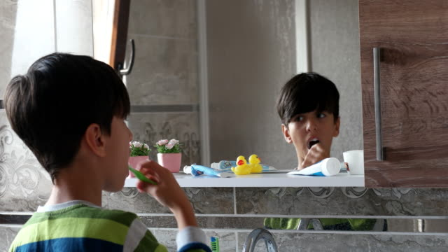 little boy brushing his teeth - brushing stock videos & royalty-free footage