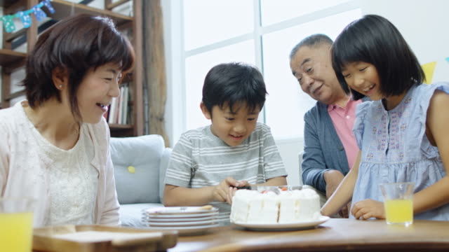 little boy cutting cake - macchina da presa manuale video stock e b–roll