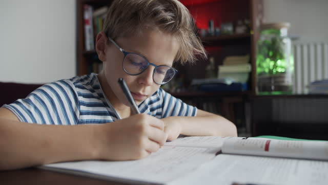 little boy doing the homework - quaderno video stock e b–roll