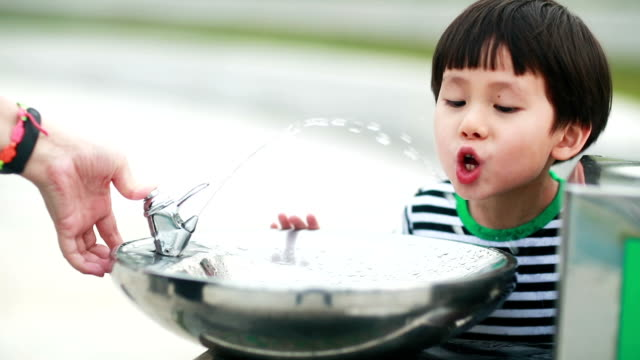little boy drinking tap water - fountain stock videos & royalty-free footage