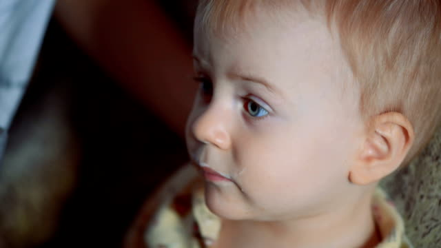 little boy drinking yogurt and watching cartoons on tv - biscuit stock videos & royalty-free footage
