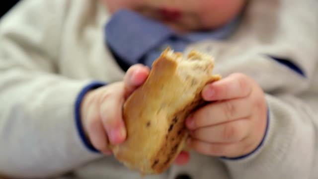 kleiner junge isst brot - vignettierung stock-videos und b-roll-filmmaterial