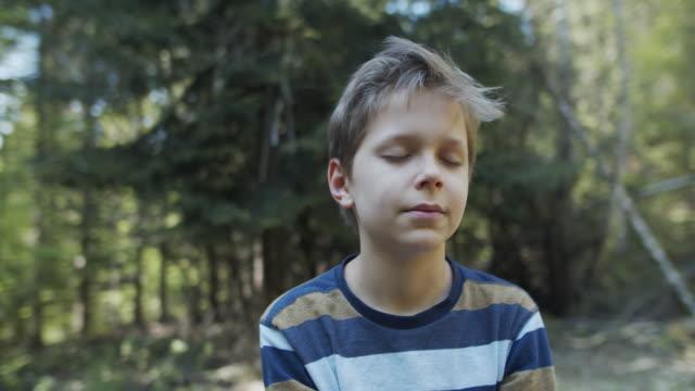 little boy enjoying peaceful nature - eyes closed stock videos & royalty-free footage