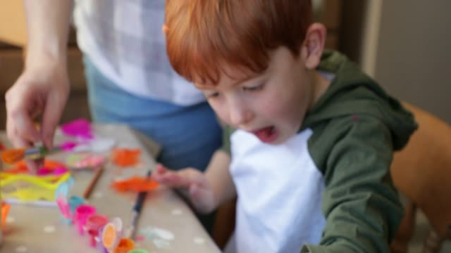 little boy finger painting - finger painting stock videos and b-roll footage