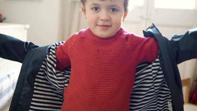 little boy getting dressed at home - jacket stock videos & royalty-free footage