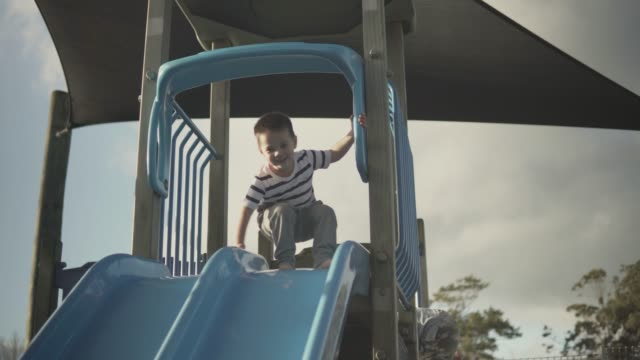 little boy going down a slide - new zealand culture stock videos and b-roll footage