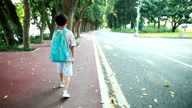 little boy going to school - satchel stock videos & royalty-free footage