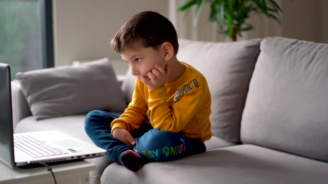 little boy having a video conference for distance learning kindergarten - 4 5 years stock videos & royalty-free footage