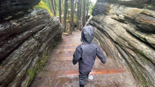 little boy hiking at athabasca falls, jasper national park, canada - athabasca falls stock videos & royalty-free footage
