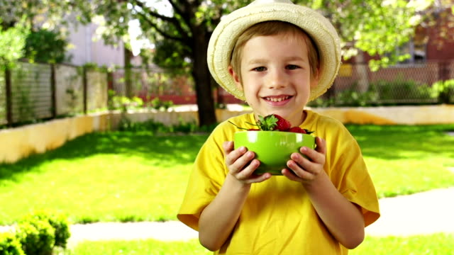 little boy holding a bowl of strawberries - straw hat stock videos & royalty-free footage